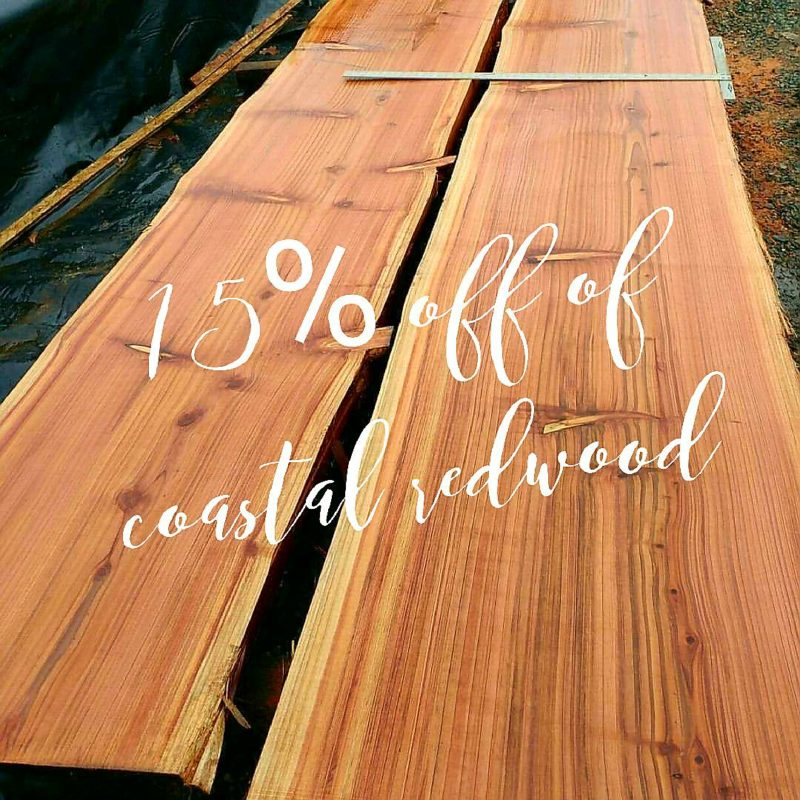image of two coastal redwood live edge slabs with a 15% off sale sign