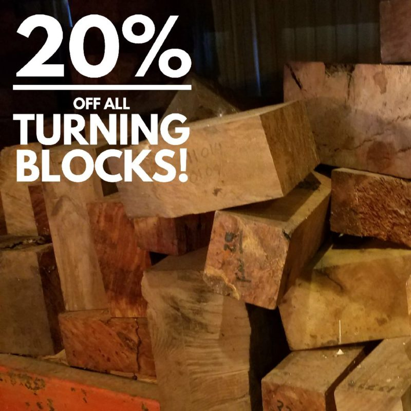 image of miscellaneous turning blocks stacked up with a 20% off sale sign