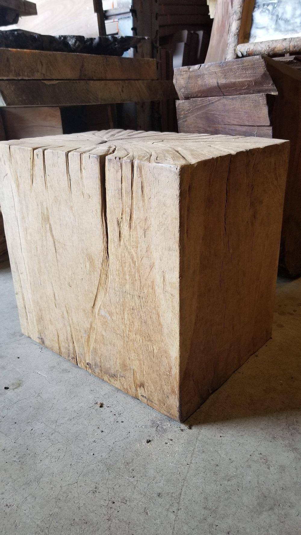 Oak Block End Or Side Table Fw023